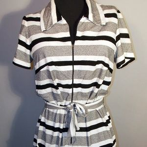 VTG 70s Black White Vertical Stripe Zip Up Dress
